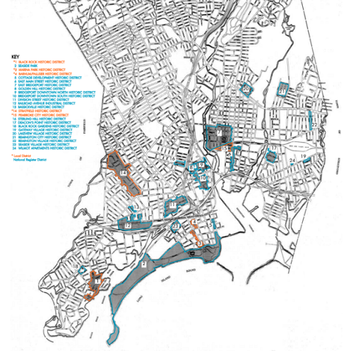 Bridgeport Historic Districts Map